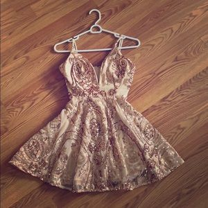 Moroccan style gold embroidered sequin dress